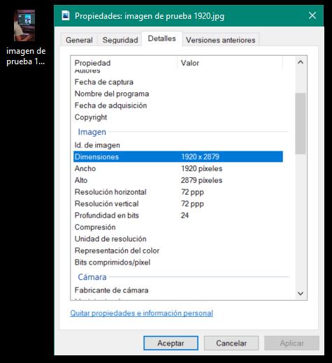 Dimensiones de una imagen en Windows