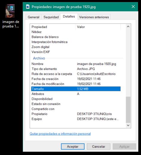 Tamaño de una imagen en Windows