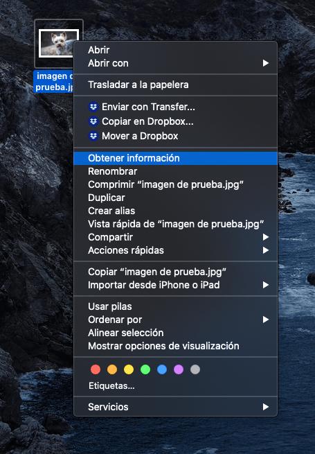 Obtener información de un archivo en macOS
