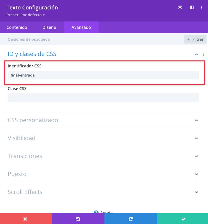 campo para añadir un identificador CSS en Divi